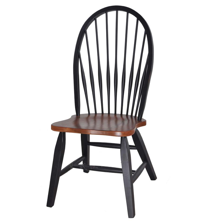 Home Furniture Oak Wood Antique Dining Chair For RestaurantCafe Room Vintage Wooden Black Finish