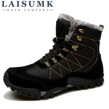 LAISUMK Big size New Men Boots for Winter Snow Super Warm Fur Plush Lace Up High Top Fashion Shoes Sneakers