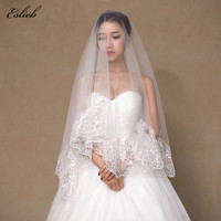 2017 New Sequined Lace Edge Veils White Tulle One Layer Elegant Beautiful Wedding Veils