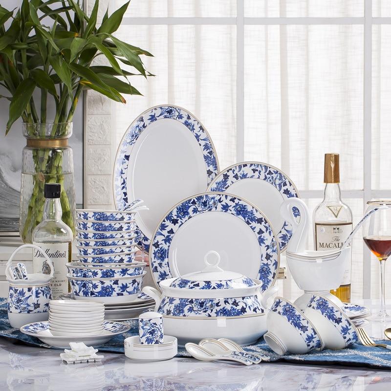 Ceramic Dinnerware Sets Wholesale Jingdezhen ceramic tableware 60 pcs Set blue hibiscus style tableware bowl dishes plate set
