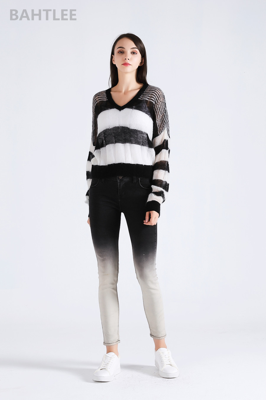 BAHTLEE 2018 Otoño Invierno mujeres Top de Mohair suéteres suéter ...