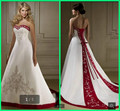 2016 Exquisite Satin a line beading Embroidery wedding dresses White and Red Lace Up plus size bride Wedding dress