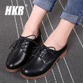 HKR 2017 spring women soft leather flats shoes lace up flats dress casual shoes woman black flats oxford shoes for women 281