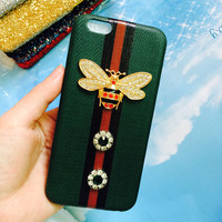 Luxury Brand Soft Case For Iphone X 6 6S 7 8 Plus 3D Bee Diamond Pearl