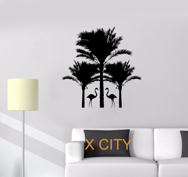 flamingo palm trees animals warm relax wall art decal sticker