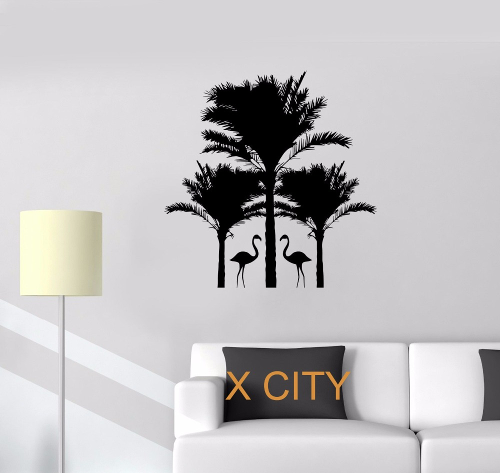popular palm tree mural buy cheap palm tree mural lots from china flamingo palm trees animals warm relax wall art decal sticker removable vinyl transfer stencil mural home