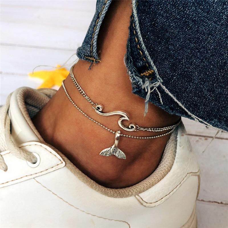 Bohemian Ocean Wave Whale Tail Anklet Bracelets Women Beach Silver Color Ankle Chain Foot Bracelet Summer Jewelry