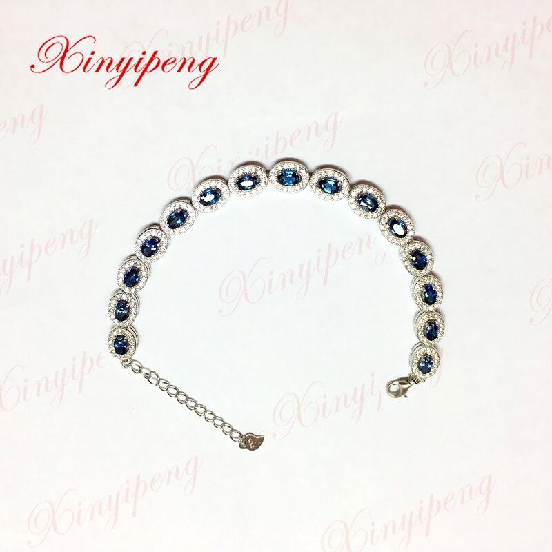 Xin yi peng 925 argent incrusté saphir naturel bracelet chaîne de main de style des femmes et de la mode généreuse