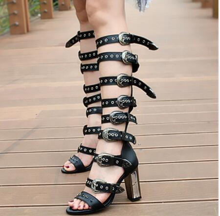 Women Punk Style Leather Boots High Heels Hollow out Sandals Summer Buckle Causal and Simplicity Shoes