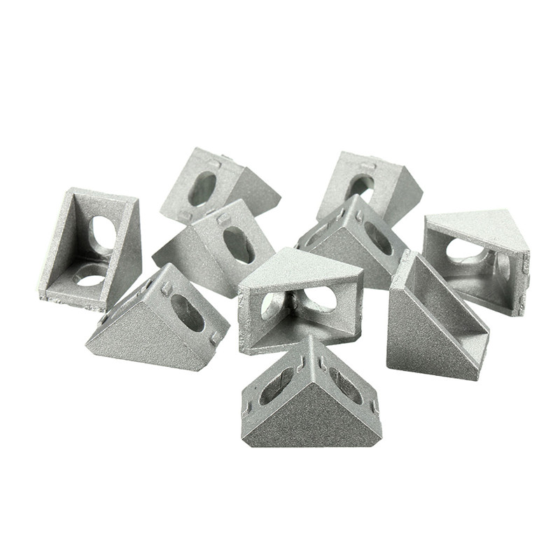 10Pcs Aluminum Brace Corner Joint Right Angle Bracket Joint L Shape 20x20mm New Grey Furniture Fittings 10 pcs lot silver color metal corner brace right angle l shape bracket 20mm x 20mm home office furniture decoration accessories