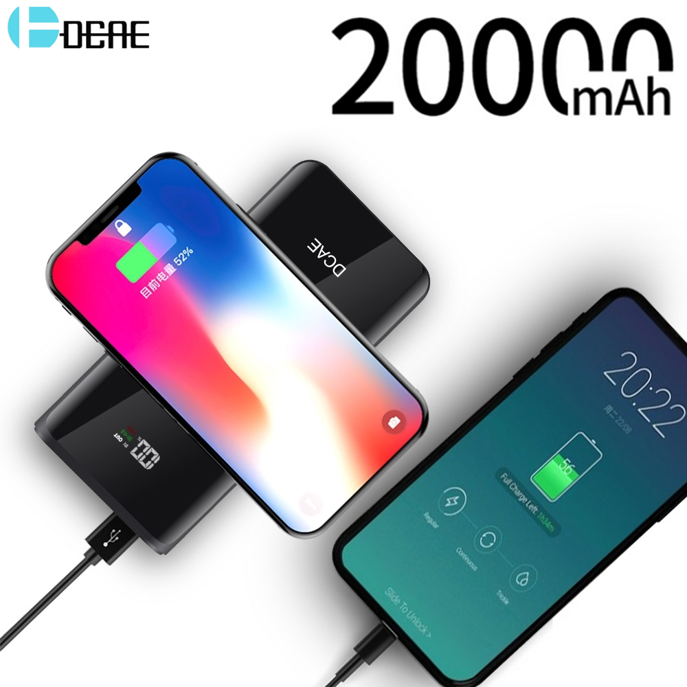 DCAE Qi Wireless Charger Power Bank 20000mAh For iPhone X 8 Plus Samsung S8 S9 Plus Wireless Charging Portable External Battery