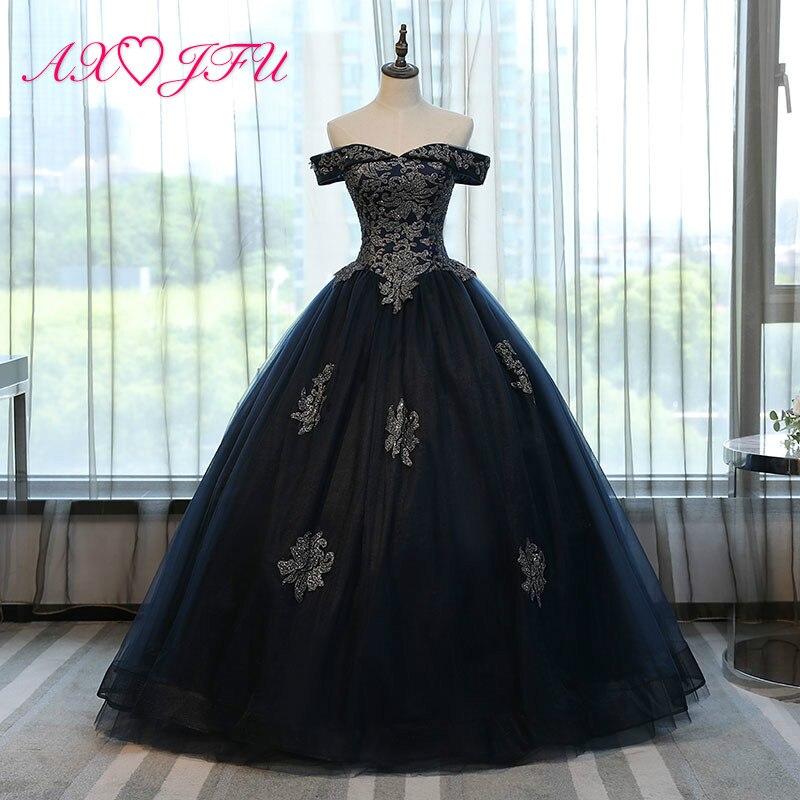 AXJFU black lace golden   evening     dress   stage color studio princess black sweet golden flower   evening     dress   NY498