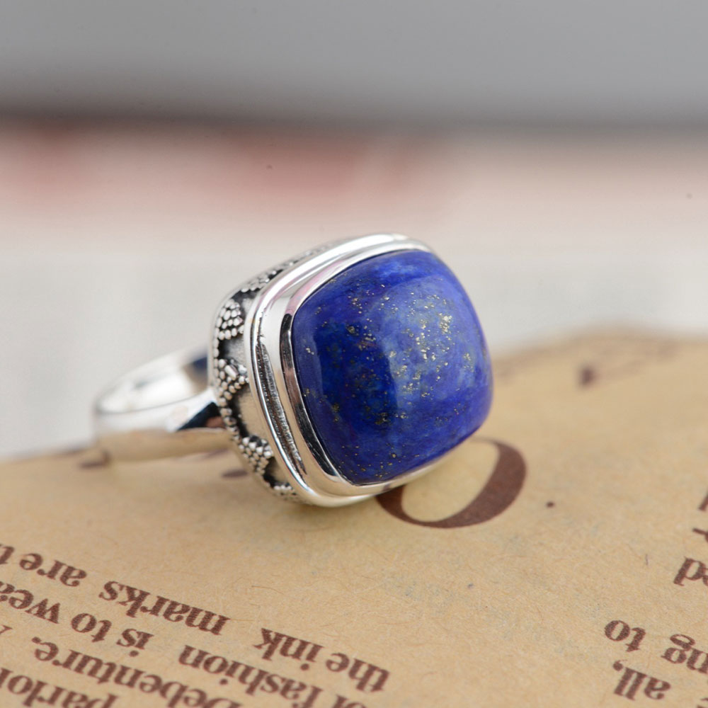 FNJ 925 Silver Ring Natural Blue Stone New Fashion Real S925 Sterling Thai Silver Rings for