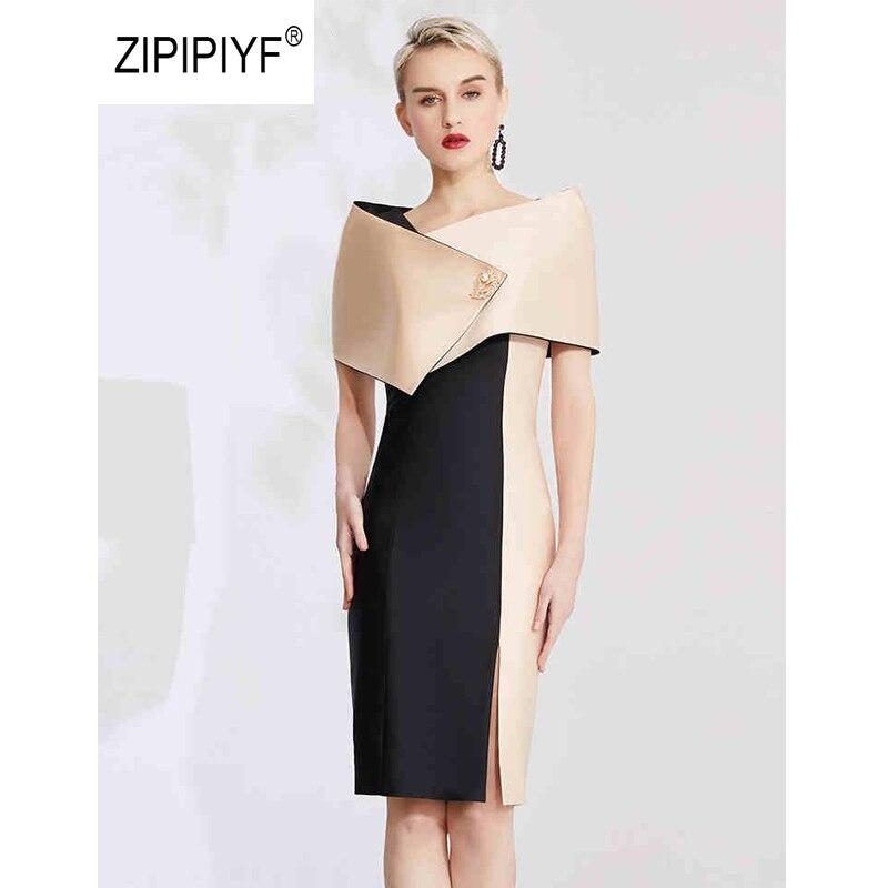 Original Bussiness meeting party Dresses 2 sets V neck pencil contrast pattern Dress Chic vestidos ensemble