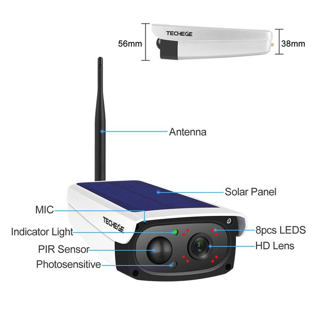 Techege 1080P HD Surveillance Cameras Waterproof Outdoor Security Solar Battery Charge Camera WIFI Cameras Audio PIR Motion