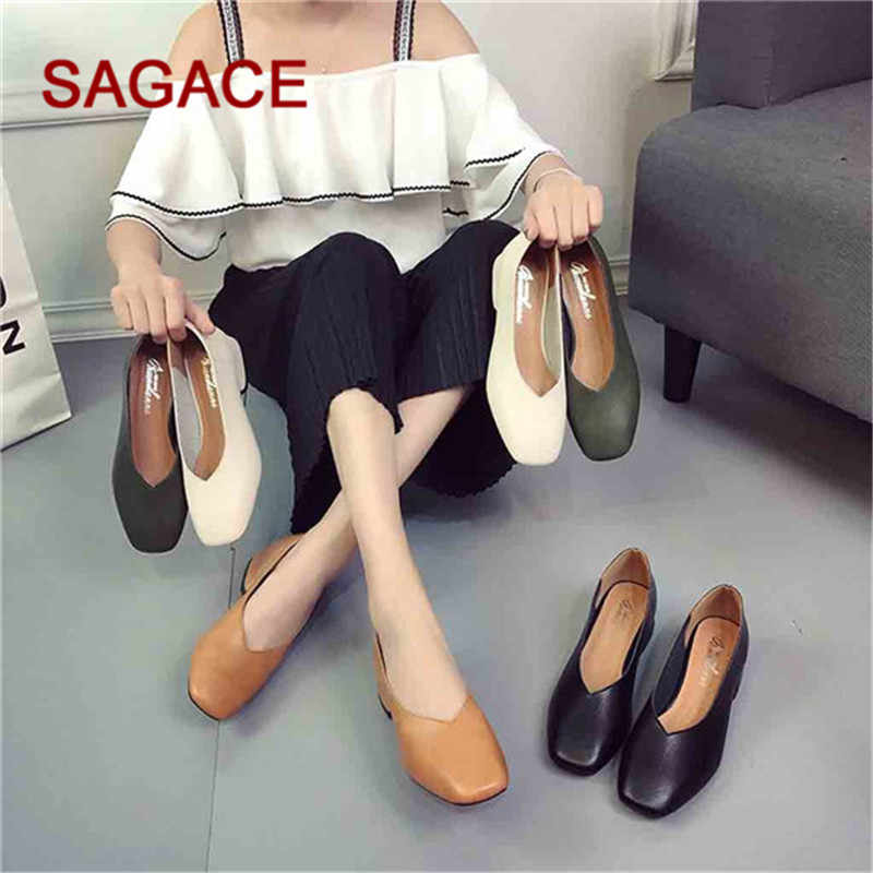 f0d3b5cb7d4 HB SAGACE 2019 Women s Pumps Fashion Women Mid-Heeled With Shallow Mouth  Square Head