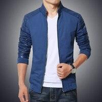2016 Nueva Marca de Moda Chaqueta de Los Hombres Slim Fit Algodón Spliced Cuero de LA PU Abrigos jaqueta masculina de Alta Calidad de Color Caqui Negro Azul Marino