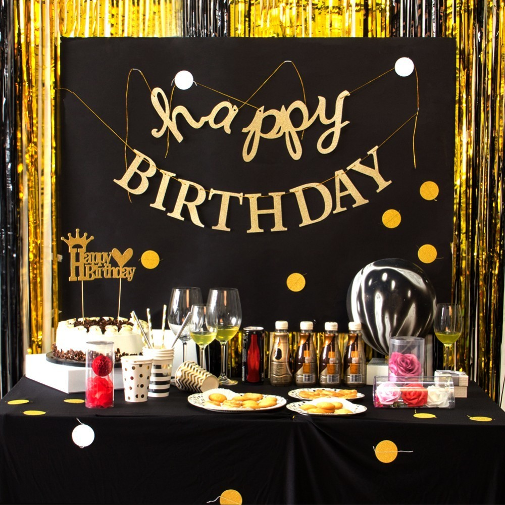 Pack Of 1pc Glitter Gold Hanging Happy Birthday Banner For Kids Adult Birthday Party Decorations Supplies Party Backdrop in Banners Streamers Confetti from Home Garden