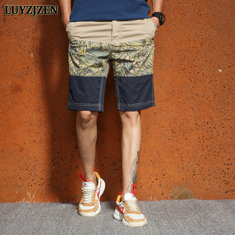 2018 Summer Casual Shorts Cargo Shorts Men Work Male Fashion Mens Squad Match Calf-length Wear Printed Trousers High Quality F66