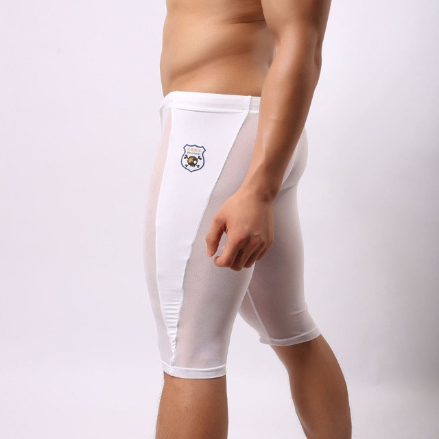 efedb0f22d 1 pcs Men's Sexy mesh Lace Sheer Transparent fitness swimming trunks nylon  Gym tights sport shorts BRAVE PERSON white black