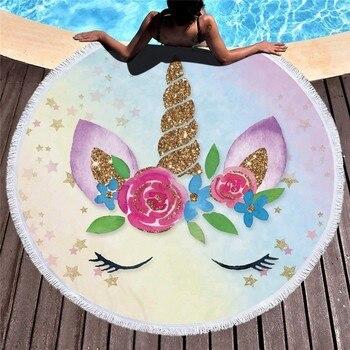 Cartoon Unicorn 150cm Round Beach Towel Wall Tapestry Picnic Blanket Portable Outdoor Sport Storage Bag Bundle Pocket Kids Gift 12