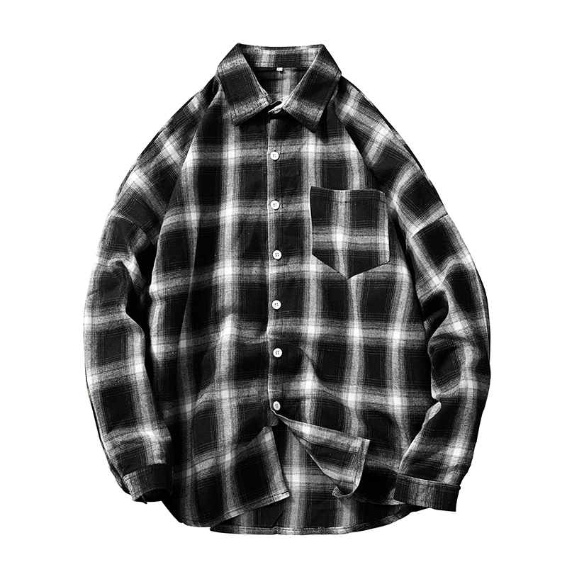 Mens Plaid Casual Shirts Social Long Sleeve Regular Thick Slim Fit Flannel Men Work Dress Leisure Shirt with Pocket