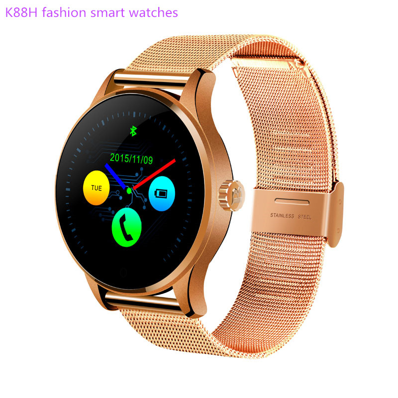 Round Bluetooth font b Smart b font Watches Clock Classic Health Metal Smartwatch with Heart Rate