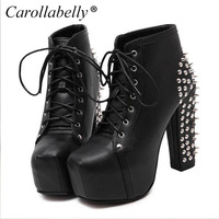 New 2017 Hot Sale Women Boots Lace Up Studded Rivets Ankle Boots Rivtes High Heels Platform Shoes Motorcycle Boots Size 35-40