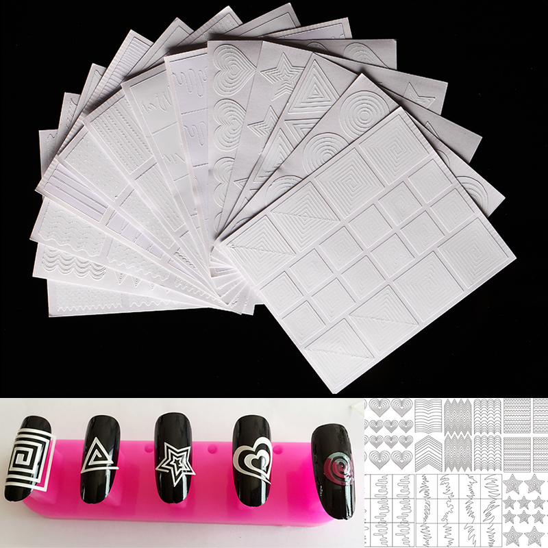 12 pz/set Nail Art Tips Guida Hollow Sticker di Cristallo Acrilico Francese Manicure Modello 3D Stencil Stickers Forma Styling Strumento