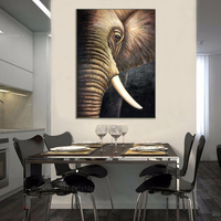 Western Paintings Pop Art Elephant High Quality Reproduction Oil Painting Handmade Animals On Canvas Painting Decoration