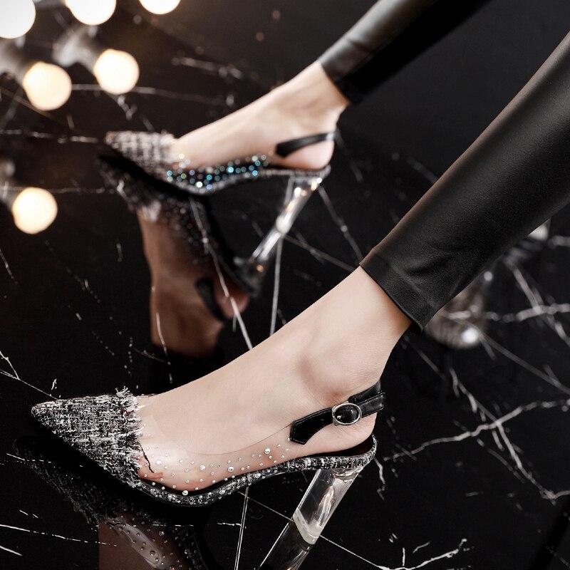 Женские босоножки; Летняя обувь; прозрачные босоножки на высоком блочном каблуке 7 см; женская обувь со стразами; сандалии с тканевым верхом;...