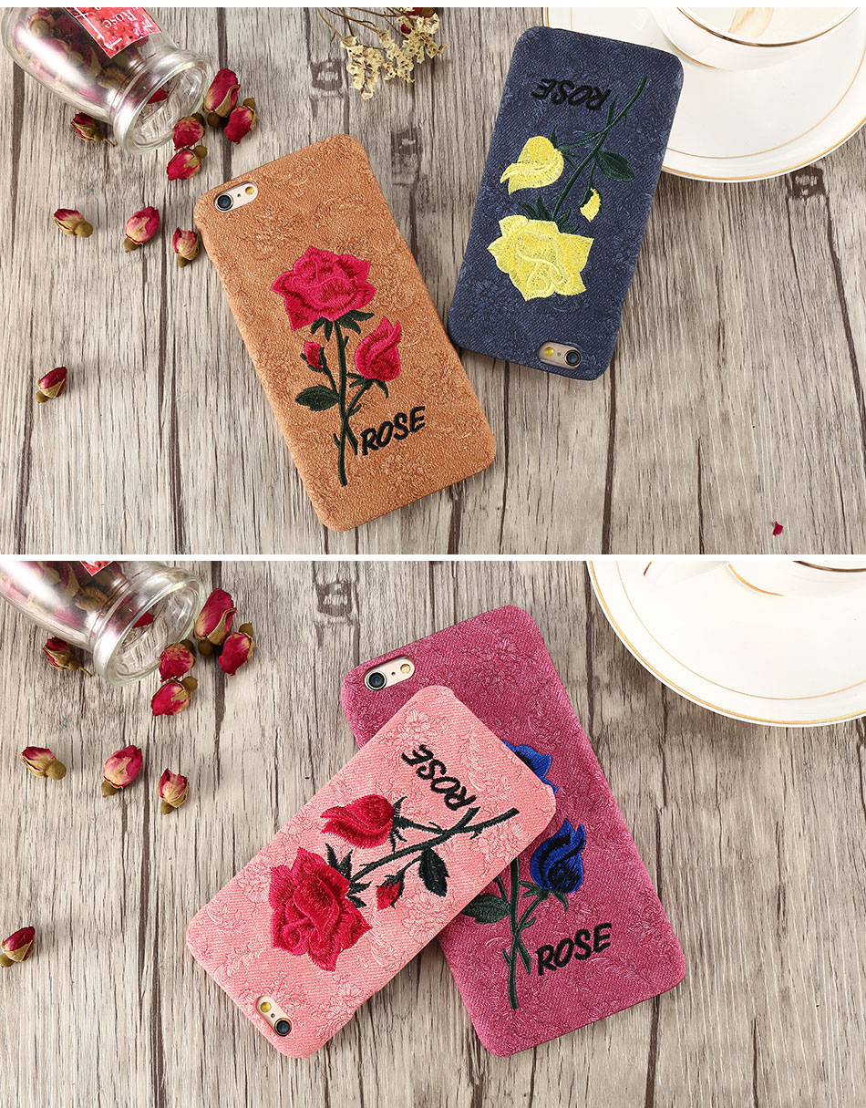 KISSCASE Beautiful Rose Flower Cover For Apple iPhone 6 6S Plus 7 7 Plus Case Fundas Coque Embroidery Pattern For iPhone 6 7 6S (12)