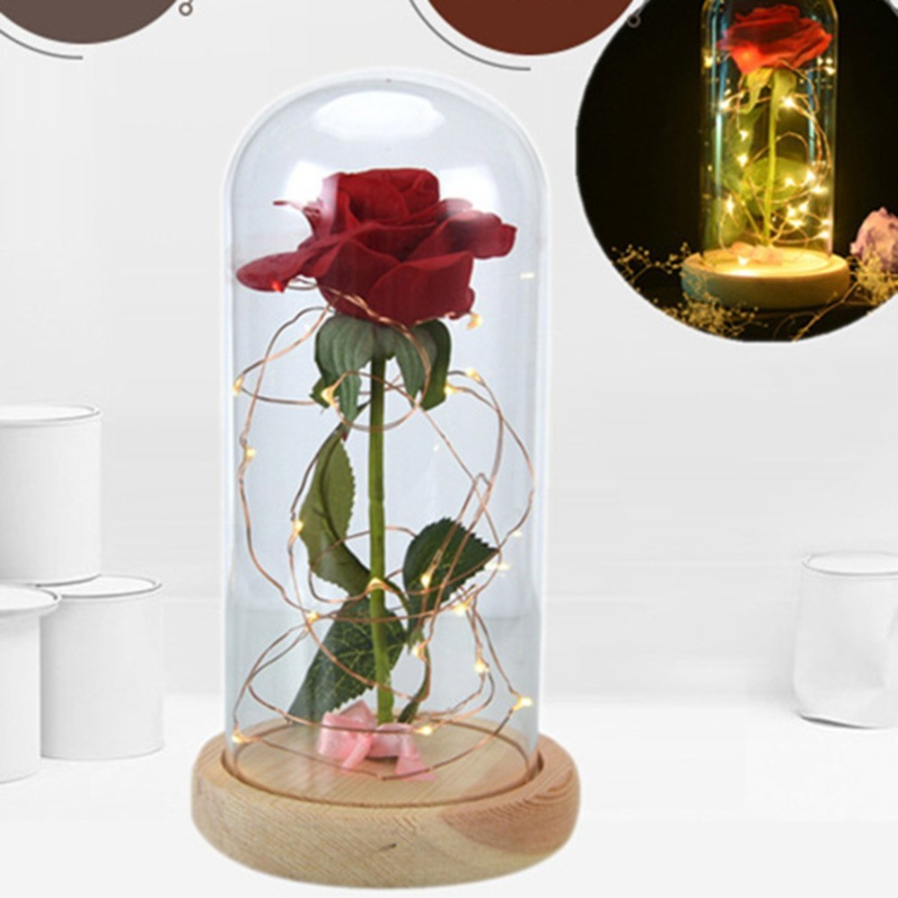 Home & Garden Beauty And The Beast Red Rose In A Glass Dome On A Wooden Base Rose Lamp For Valentines Gifts 2 Rose Ample Supply And Prompt Delivery
