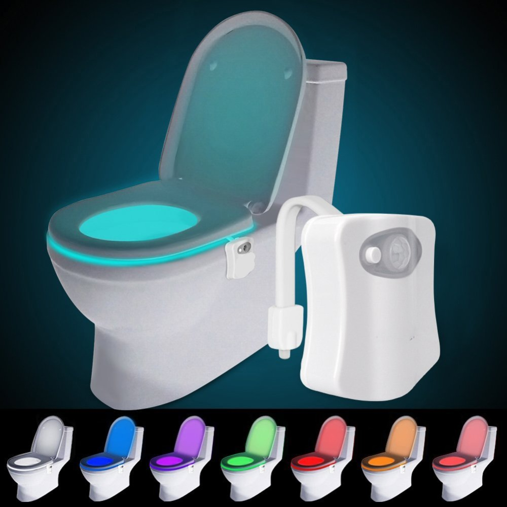 Smart Bathroom Toilet Nightlight 8 Colors LED Body Motion Activated On/Off Seat Sensor Lamp PIR Toilet Night Light Lamp 8 colors led toilet night light baby kids night light lamp motion activated auto motion sensor led light bowl night lights