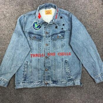 New Travis Scott Astroworld Denim Men Women 1:1 High Quality Embroidery Travis Scott Travis Scott Astroworld Jacket фото