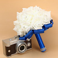 2017 New Solid Rose Artificial Flower Crystal Wedding Flower Bride Bridal Bridesmaid Bouquet Decoration