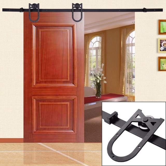 4 8.2FT Black American Antique Horseshoe Barn Wood Sliding Door Hardware  Track Set Kit