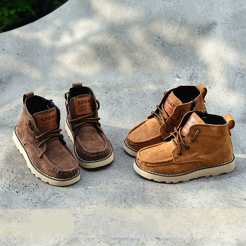 2018 Kids Autumn Boots Genuine Leather Boys Martin Boots Lace Up Motorcycle Leather Boots Ankle High Children Winter Shoes 26-36 2016 winter children genuine leather boots brand boys cotton buckle shoes fashion ankle martin boots for kids