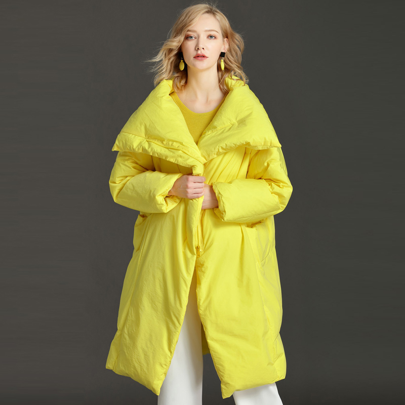YNZZU High Quality 2018 Winter   Down   Jackets Women Elegant Pink Long Loose Duck   Down     Coats   Plus Size 6XL Female Overcoat O674
