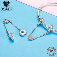 BISAER 925 Sterling Silver Flower and Heart Safety Chain with Silicon Stopper Charm Fit for Women 3MM Charms Bracelet GXC1113 bisaer authentic 925 sterling silver openwork heart gift box charms fit for women 3mm bracelet and necklace fine jewelry gxc1029