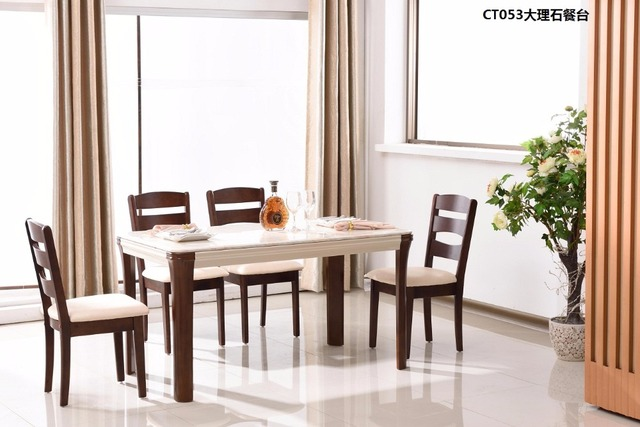 CT053 Marble surface solid wood frame dining room furniture ...