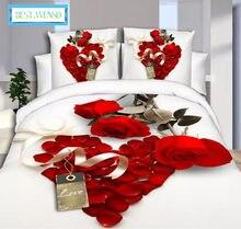 0fbbc1fd3c MELHOR. WENSD venda Quente 3d meninas conjunto de cama Jacquard duvet cover  set rainha rei gêmeo jogo de cama rosa vermelha Líri.