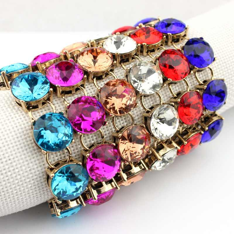 2016 Hot Selling 1.5cm Classic Faceted Round Glass Crystal Dot Bracelets for Women Gold  Fashion Designer Inspired Brand Jewelry