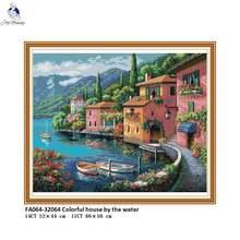 Красочный дом от воды наборы для вышивки крестиком 11ct печатная