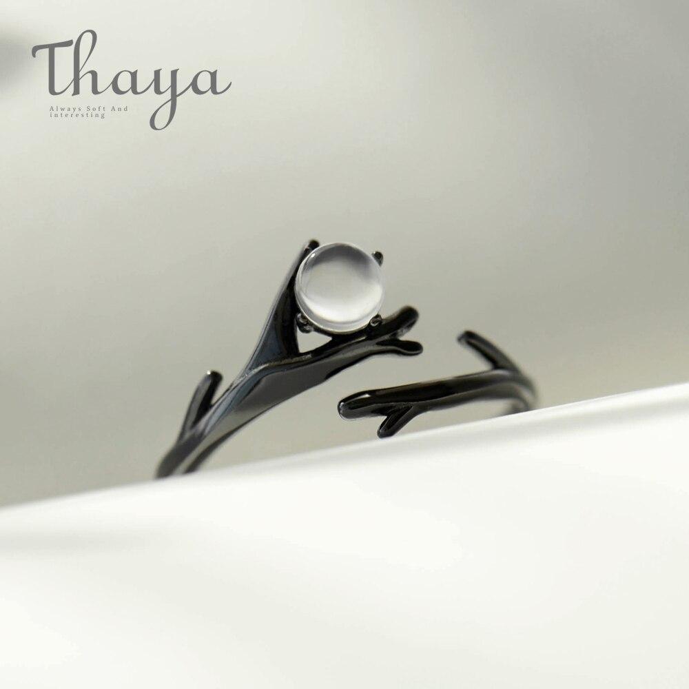 Thaya Original Moonlight Wald Design Finger Ring Mondstein Edelstein s925 Silber Schwarz Zweig Ring für Frauen Elegante Schmuck