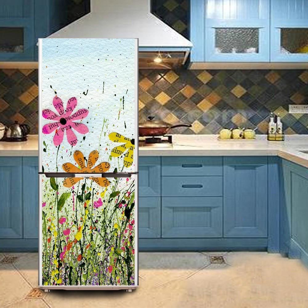 Yazi flower pvc self adhesive refrigerator door sticker for Decoration porte adhesive
