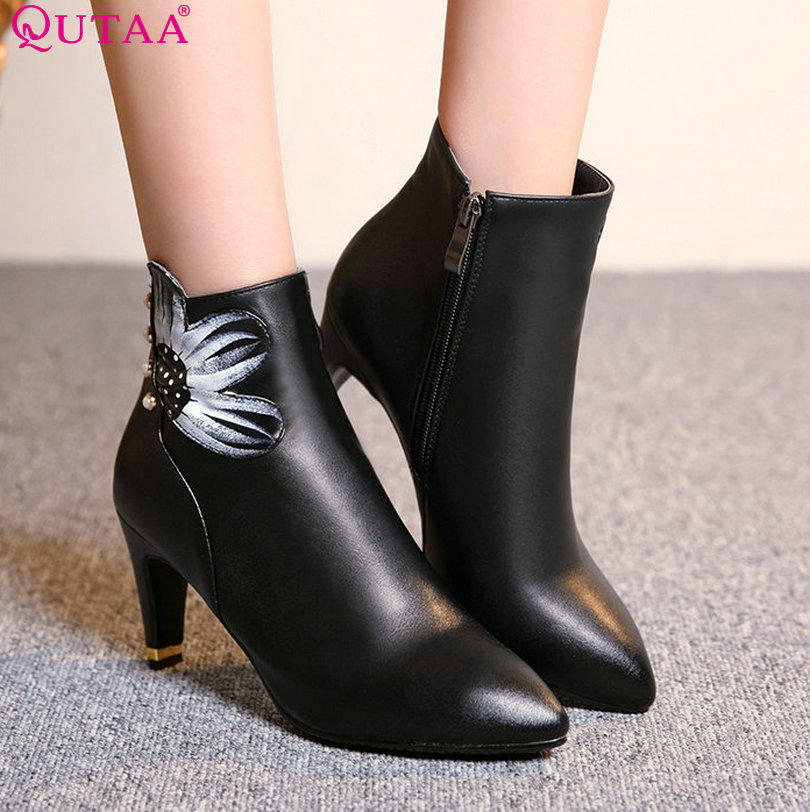 ФОТО QUTAA Sexy Burgundy Zipper PU leather Thin High Heel Ankle Boots Round Toe Solid Women Motorcycle Boots Size 34-40