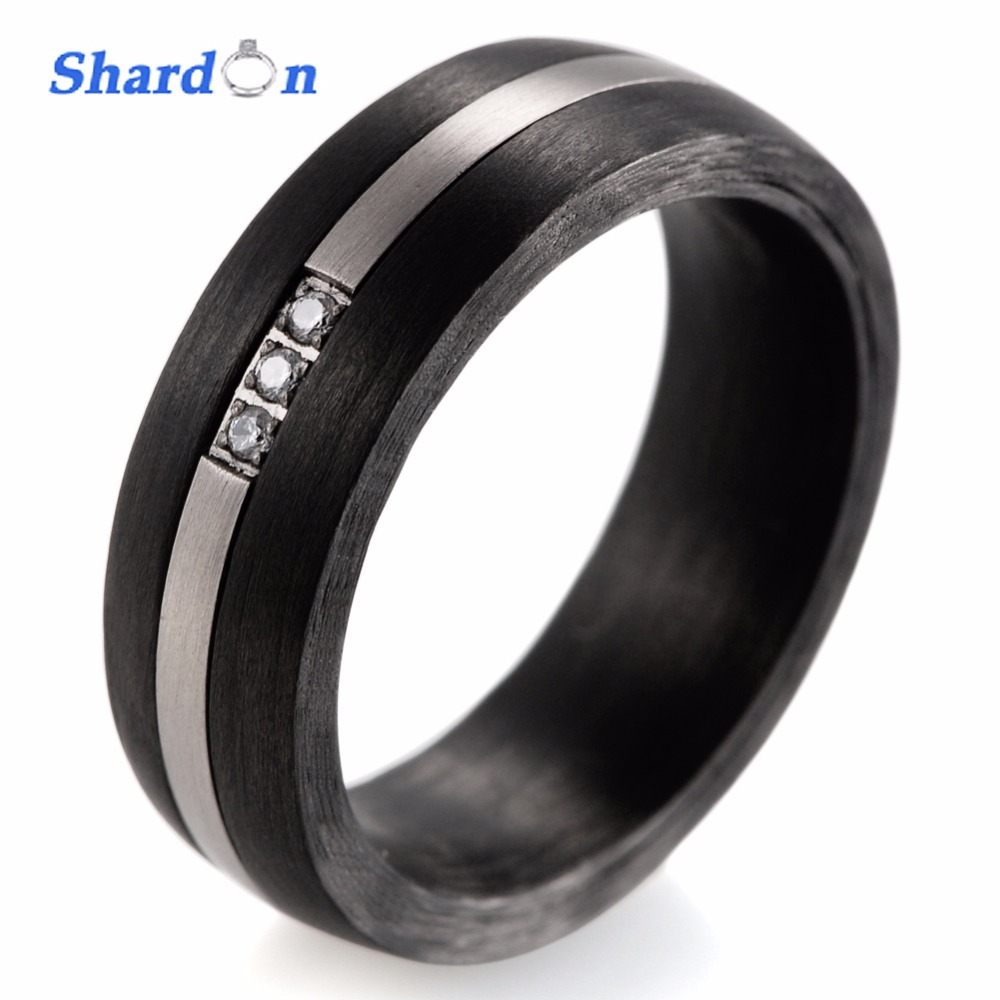 цена SHARDON New Style 100% Pure Carbon Fiber Ring Inlay Titanium and Cubic Zirconia Black Engagement Wedding Band