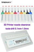 Tronxy 3D части принтера сопла оформление инструменты 10 шт./лот prusa i3 imprimante 3d аксессуары 0.1 мм-1.0 мм блок очистить дрель