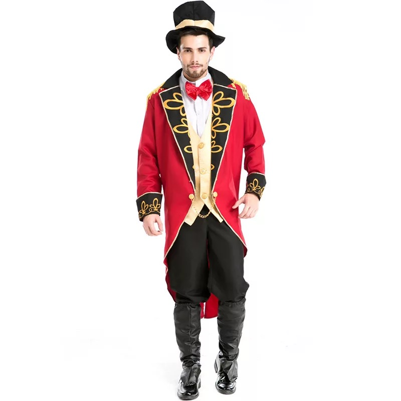 Image 3 - Halloween Vampire Magician Ringmaster Costume Male Circus Leader Tuxedo Jacket Vintage Tailcoat Fancy Dress Outfit For Men Hat-in Game Costumes from Novelty & Special Use